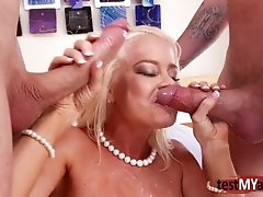 Big titties porn star double banging and facial