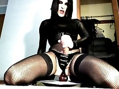 Goth SheBabe Crossdresser Blows And Swallows Her Own Sweet Ejaculant