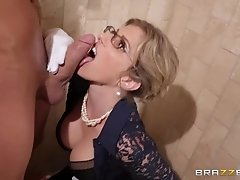 Danny D gets blowjob from his strict stepmom and fucks her standing up