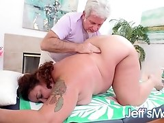 Fat Auntie Lacy Bangs Wants Something Extra With Her Nude Rubdown